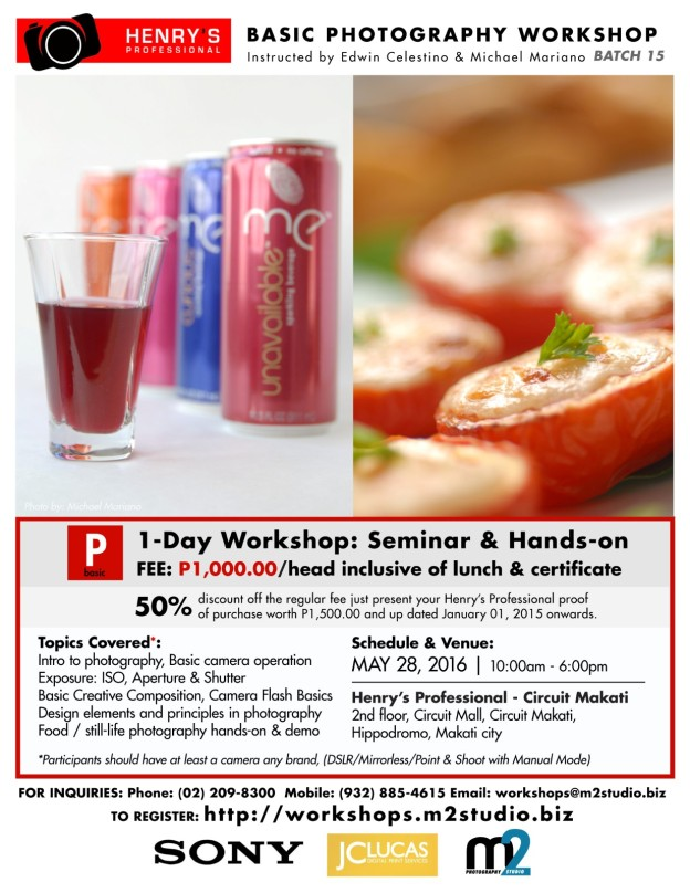 nal Basic Photography Workshop - Batch 15: food and still-life photography