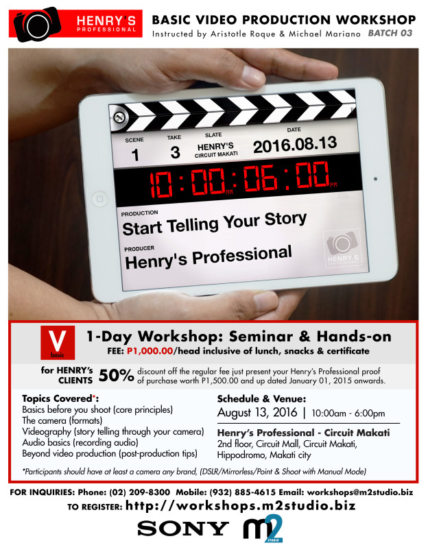 Henry's Professional Basic Video Production Workshop - Batch 03